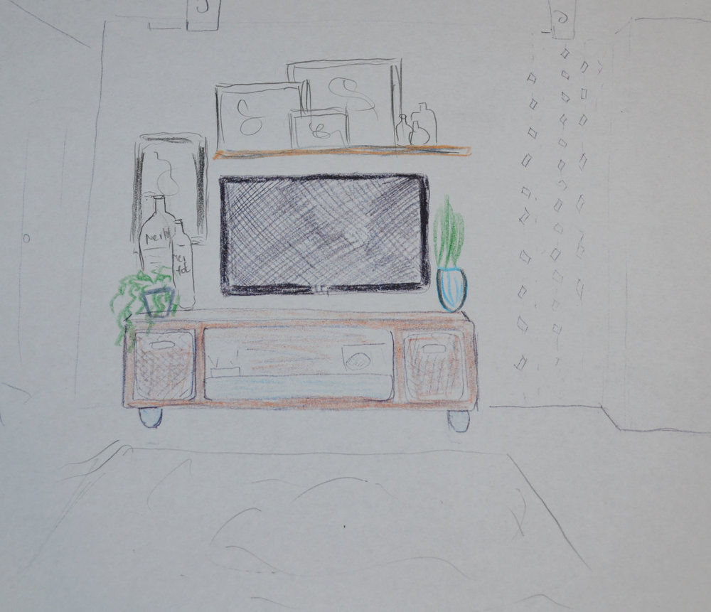 decorating around the TV stand sketch-3