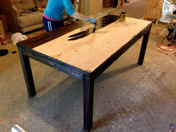 DIY Farmhouse table with free plan and video tutorial how to make new wood look old
