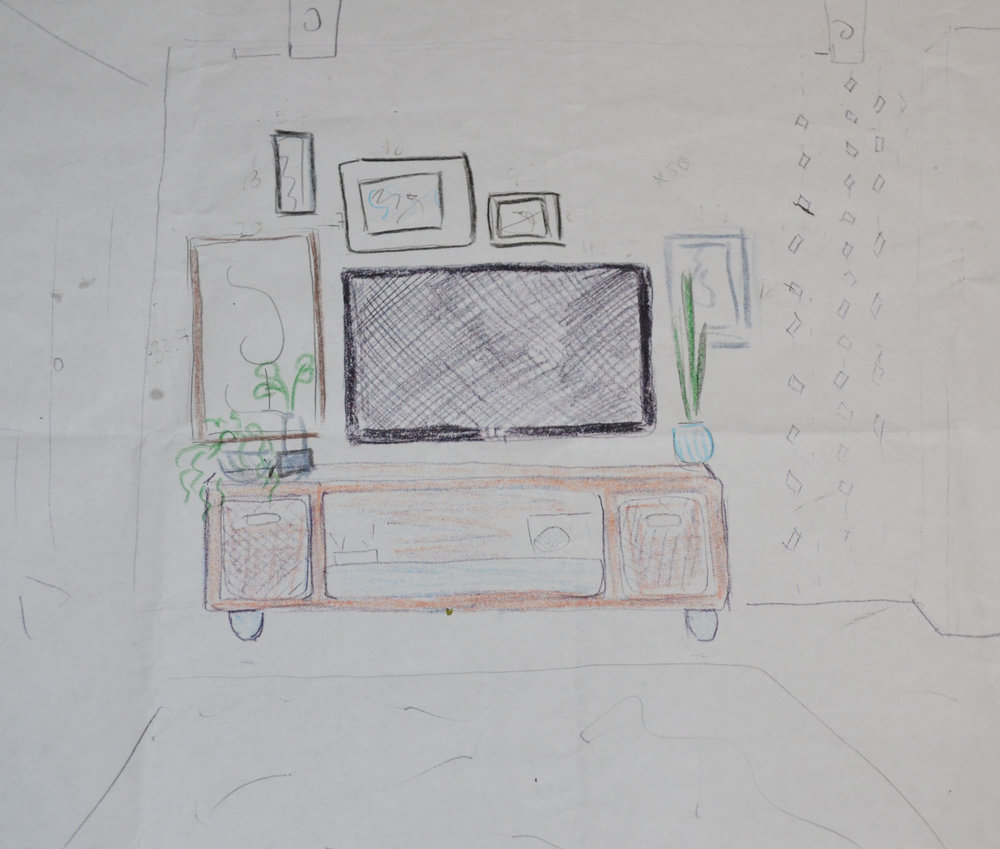 Around the TV gallery wall sketch