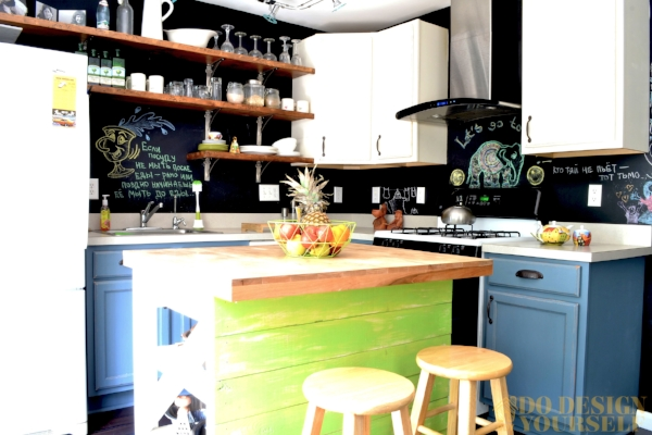 colorful blue and lime green painted kitchen with industrial open shelves
