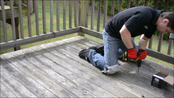 reinforcing the weathered deck with screws