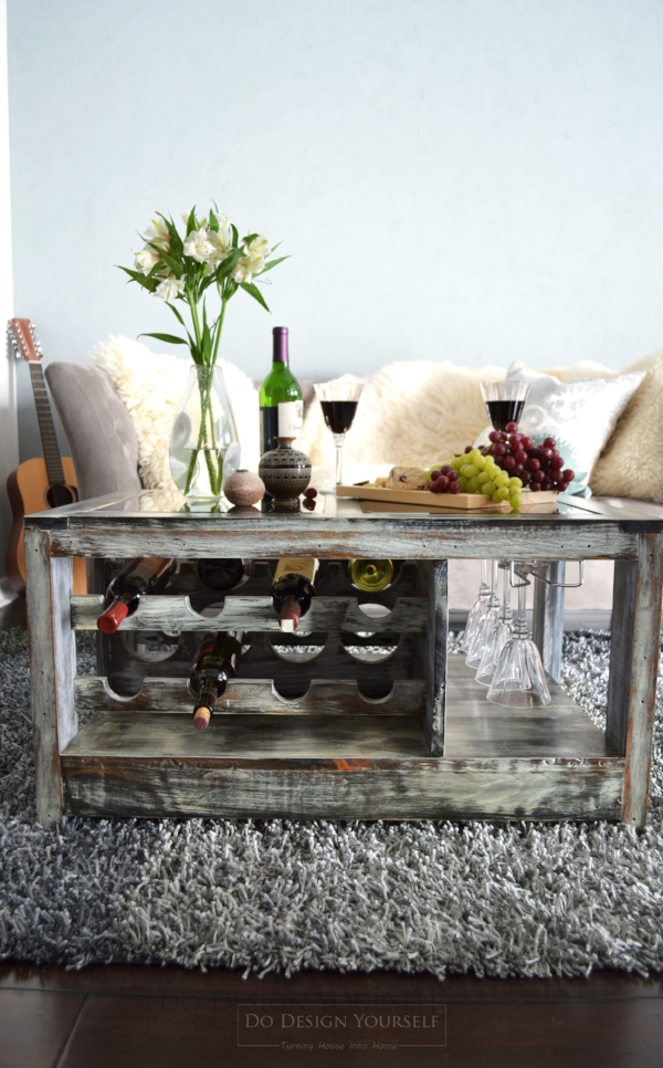 coffee table with wine and wine glasses racks - ideal wine storage solution for small space