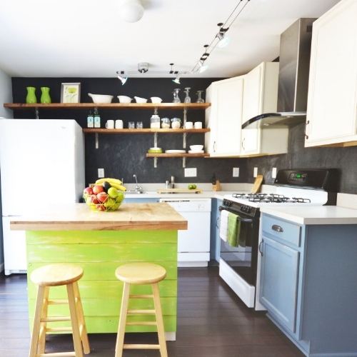 open shelves and painted two color kitchen cabinets. Rustic kitchen island with butcher block made of reclaimed wood