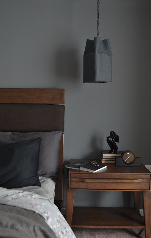 gray felt pendant shade. contemporary bedroom