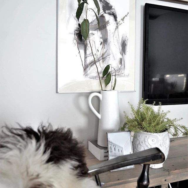 Our solution to the bland space around that black hole on the wall. Direct link is in my profile. How do you decorate this space? :) #gallerywall #decoratearoundtv  #tvdecor #plants #livingroomdecor