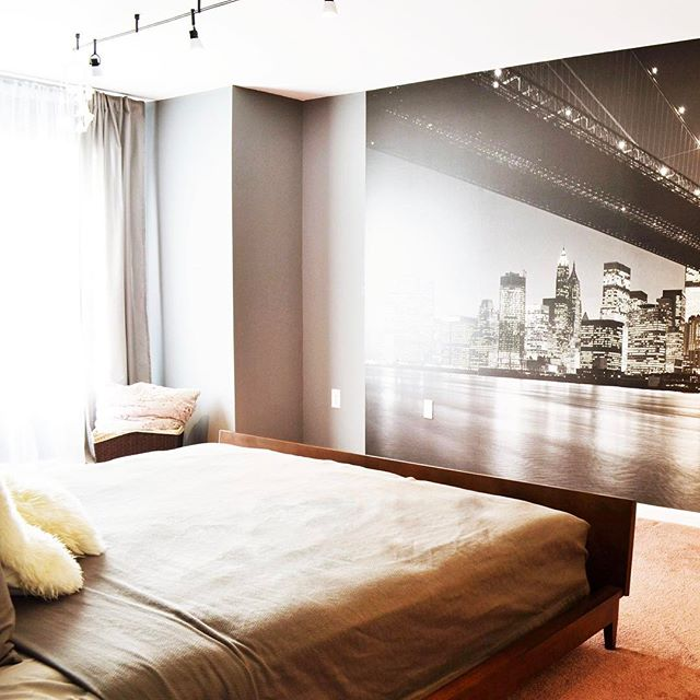 Enjoying incredible view on Manhattan everyday right from our bed :) #wallmural #bedroomdecor #monochromatic #monochromaticinterior #grayinteriors