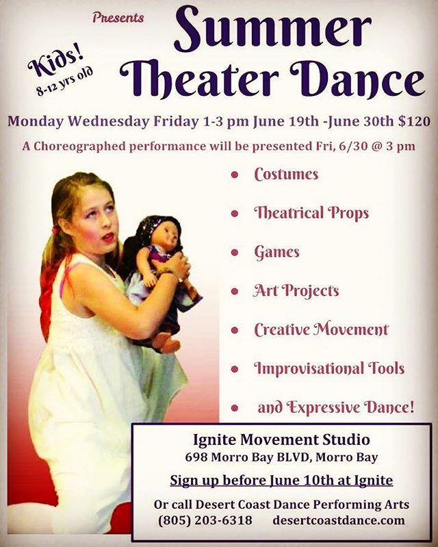 @desertcoastdance presents Summer Theater Dance camp for 8 - 12 y/o. Three more spots available!!
