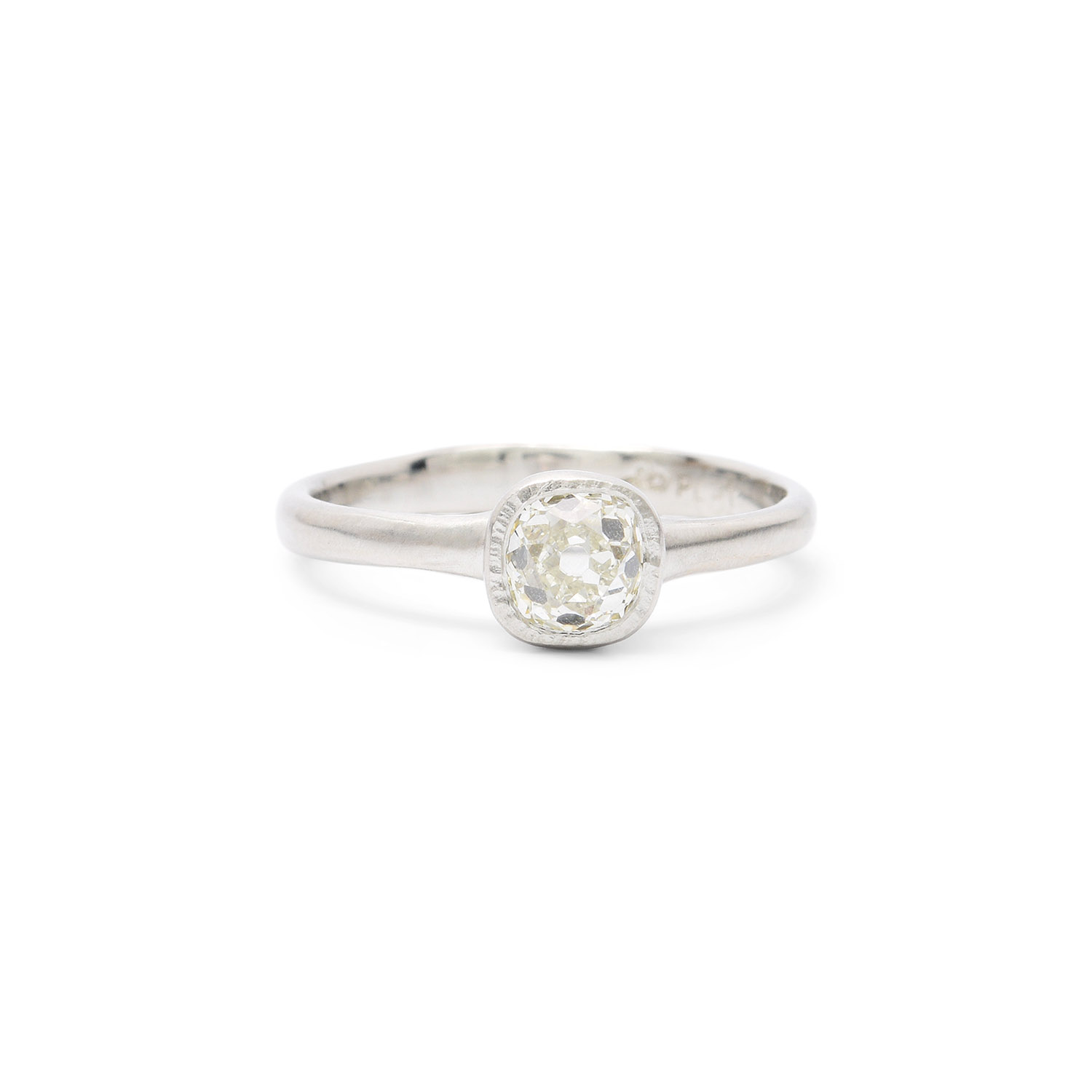 ring in prong setting platinum four solitaire