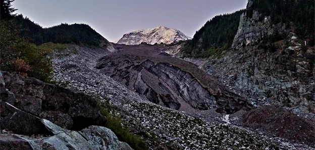 The Carbon River terminus, the summit of Rainier seven miles and 11,000' above