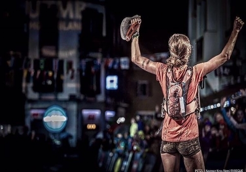 Michele chooses this picture as the one that inspires her. Clare Gallagher after finishing and winning the CCC 100k in Chamonix, France. The mud, the strength, and the smile on her face that you can't see but just know is there.