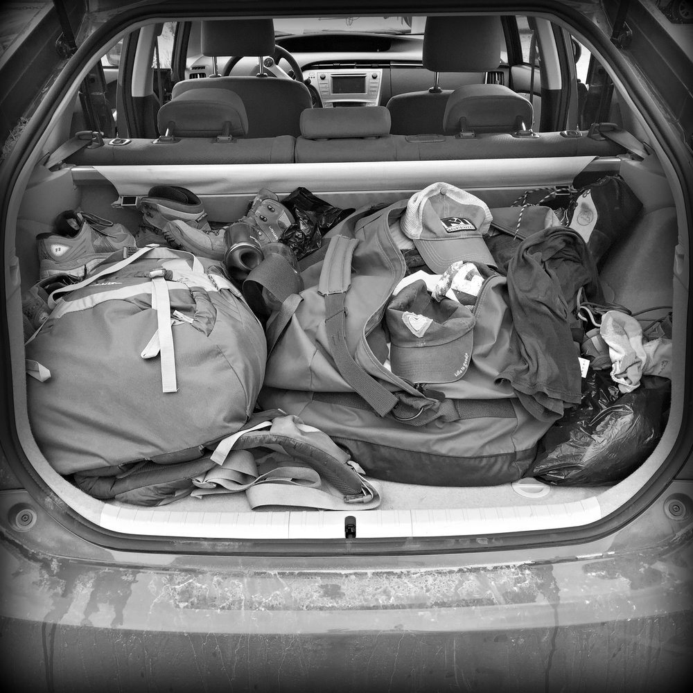 Gear-packed rental car