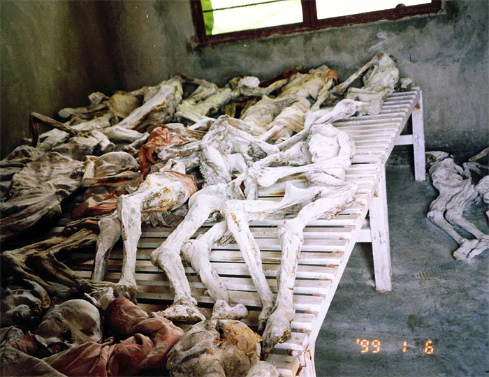 Bodies from a mass grave in Rwanda