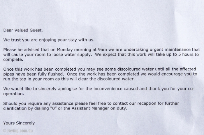 The 'unwelcome' letter I received upon entering the hotel room