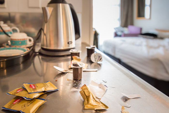 Picture of mess making coffee with UHT milk in hotel
