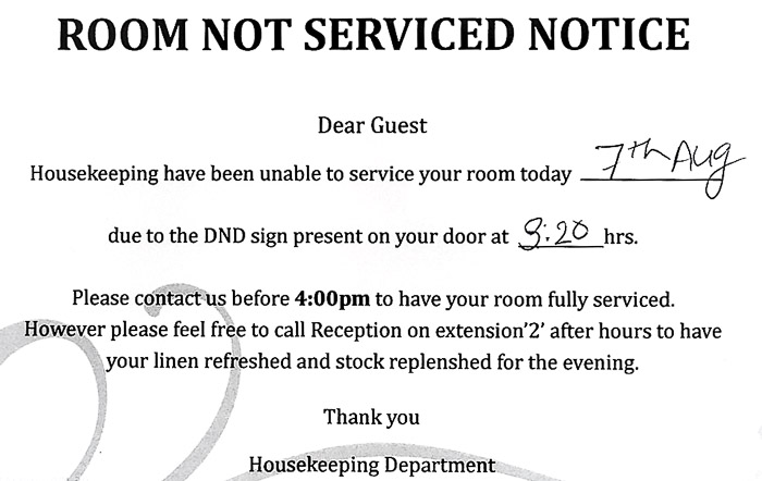 Picture of room not serviced notice