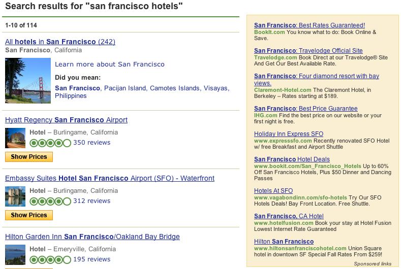 Screenshot of old tripadvisor sponsored google ads