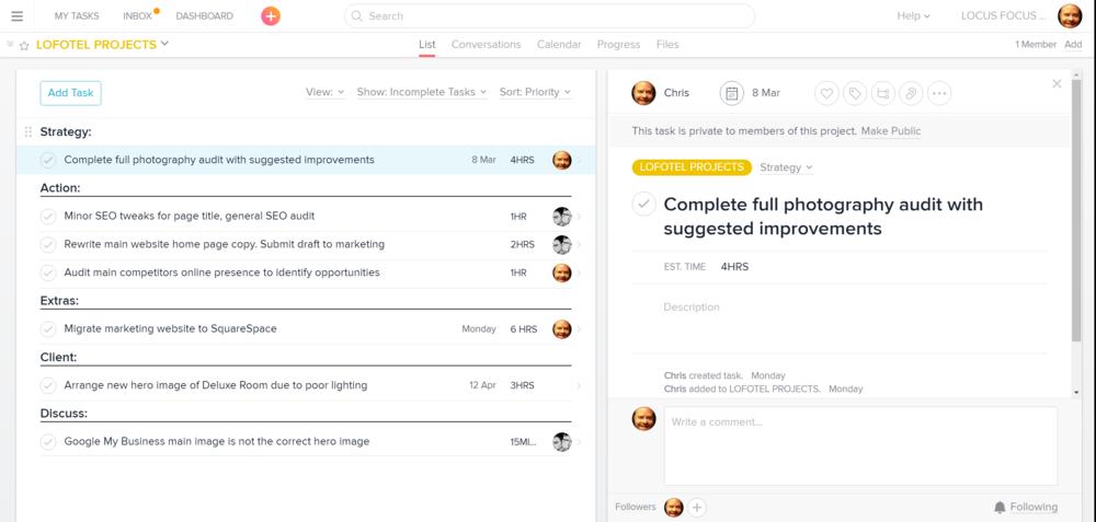 Locus Focus Consulting Project Management using Asana