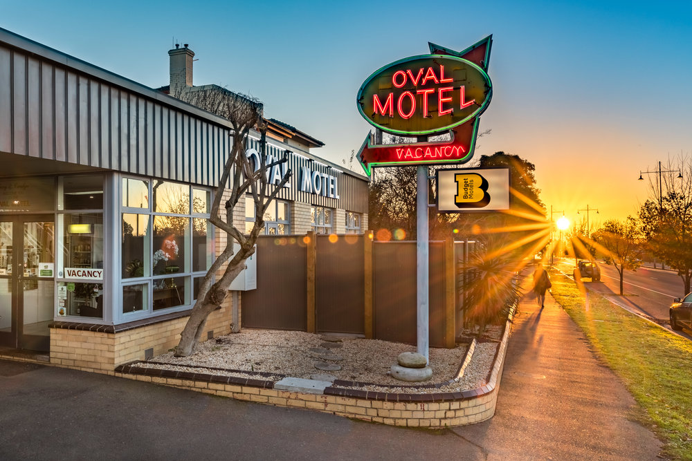This photos would not catch the eye without the rising sun captured at 6.00AM in the morning. This is an ideal, eye-catching hero shot for a motel. Photo by Chris Jack, Locus Focus.