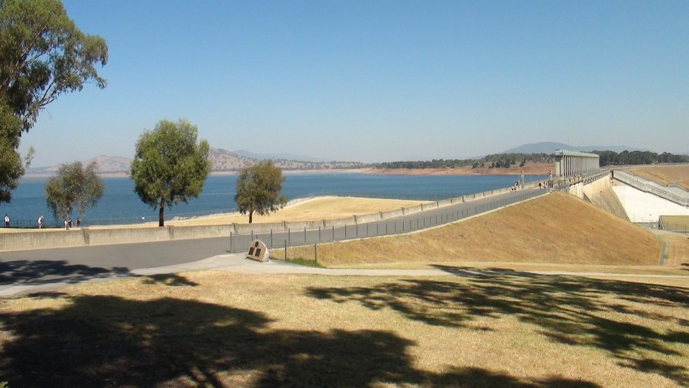You can walk across the dam at Lake Hume