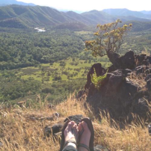 Me + my Earthrunners enjoying a hike in southern Oregon