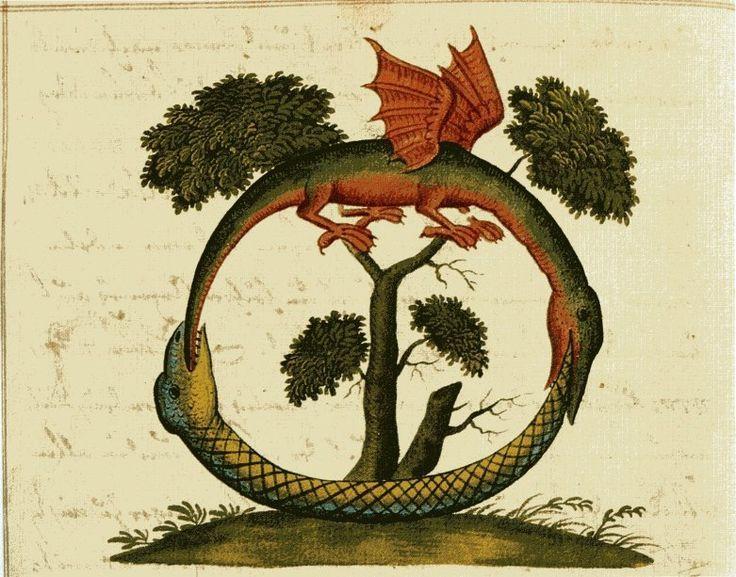 From the century manuscript on alchemy Clavis Artis, attributed to Zoroaster. Represents an ourobouros. Image via  bildgeist.com