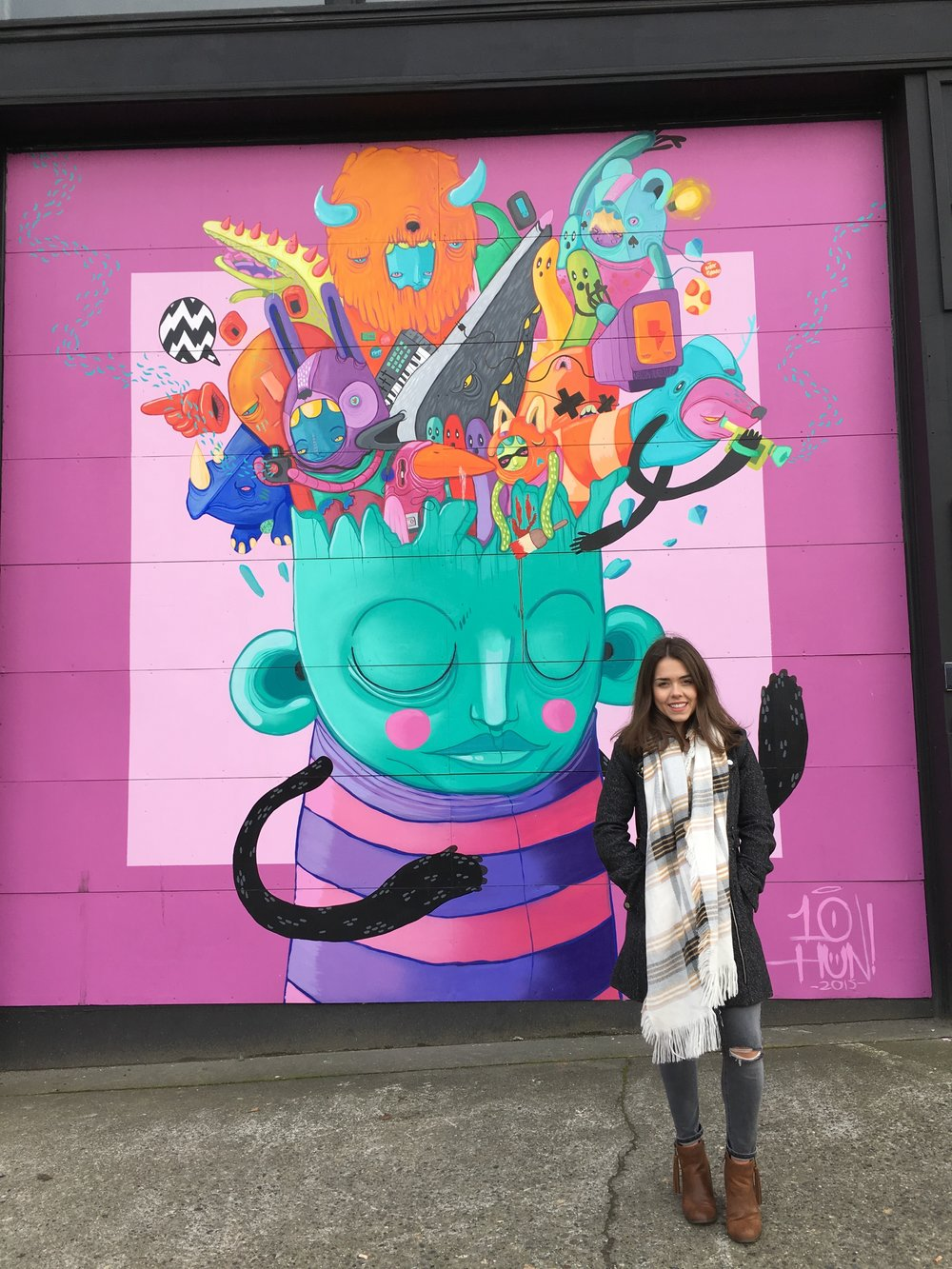 Love finding murals when exploring Seattle. Me on New Years Eve in South Lake Union!