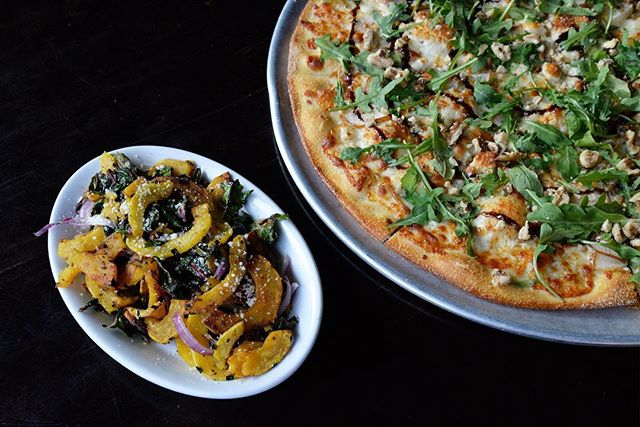 November Specials are here!  Chard & Squash Appetizer, made with organic rainbow swiss chard, organic delicata squash, red onions, garlic, chili flakes, olive oil, parmesan.  Pears & Blue Cheese Thin Crust Pizza with garlic-infused olive oil base, bosc pears, gorgonzola, balsamic reduction, arugula, walnuts. This pair is here all month! Voters, come celebrate and watch the numbers come in!
