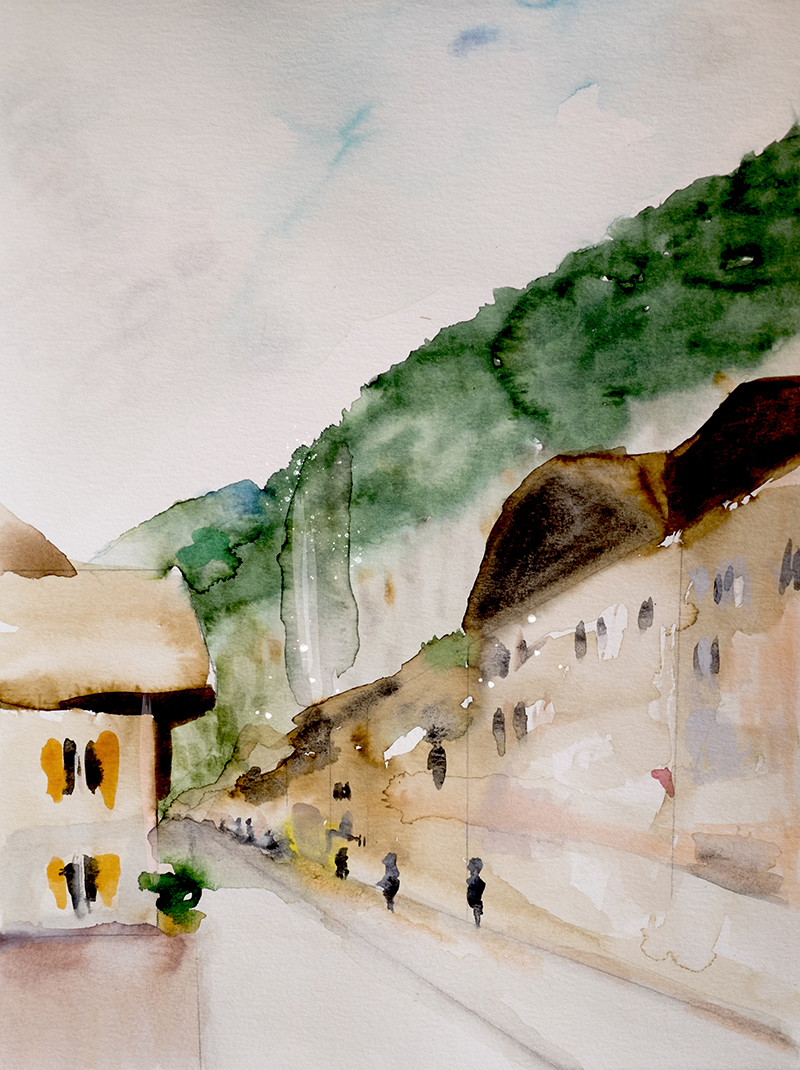 "© Leigh Viner 2018 - ""Lauterbrunnen Switzerland"" Watercolor on Paper"