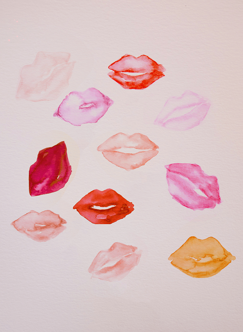"© Leigh Viner 2018 - ""Kisses"" Watercolor on Paper"