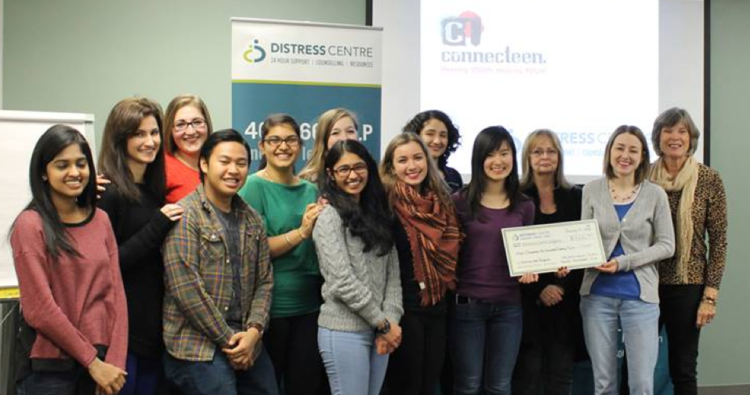 Cheque presentation following the second-annual Outrun the Stigma Calgary fundraiser for Distress Centre.