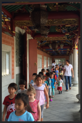 The children were respectful as they walked quietly along the corridors of the temple and whispering whenever they needed to say or ask something.