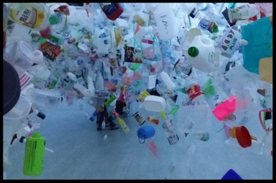 Everyone walked through a maze of plastics hanging above them. The artist tackles the issue of litter in the ocean. They had a feel of how the sea creatures feel in an ocean full of plastics.