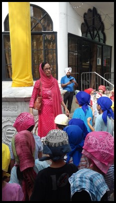 "Ms. Hardeep talked to the children about the ""Nishan Sahib"". It is a Sikh triangular flag, with a tassel at its end. It is hoisted on a flagpole."