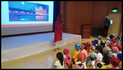 The children proceeded into the auditorium. Ms. Hardeep provided an informative discussion about different aspects of the Sikh religion.