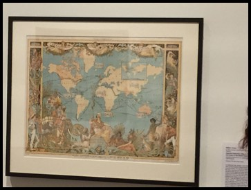 Ms. Nora showed the children a painting by Walter Crane entitled Imperial Federation: Map of the World Showing the Extent of the British Empire in 1886. It shows the history of the expansion of the British Empire and is framed by images of native figures and white settlers.
