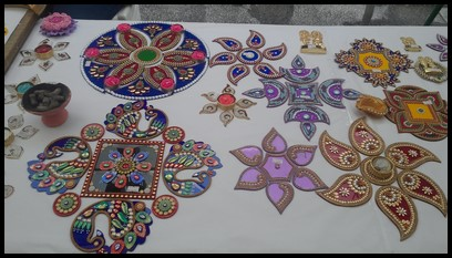 Different Rangoli patterns which are believed to bring good luck and prosperity to a home so it is usually created at the entrances.