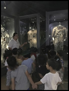 They saw the different layers of an astronaut's suit that protects them from the radiation in space.