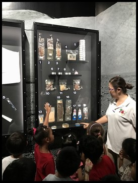 The food that the astronauts eat in space were displayed and the children had a good time guessing what was in each of them.