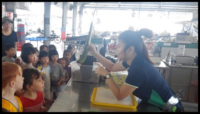 Upon arrival, the children were split into two groups and were led by Ms. Kelly and Ms. Fiona. They were shown how to extract the gel from an aloe vera.