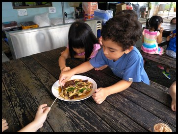 The children tasted the mushrooms and pea sprouts