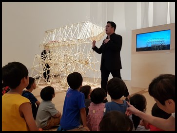The guide explained to us that Jansen created these strandbeests to inspire others to create their own strandbeests.