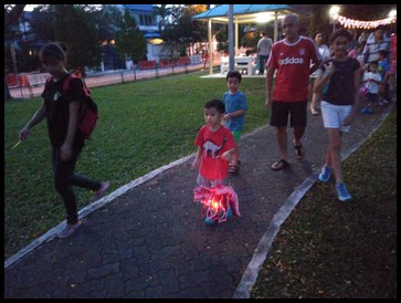 Walking around the park with their lanterns