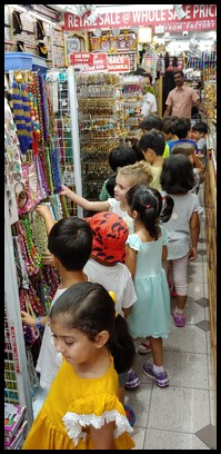 There was a lovely collection of bindis for the children to choose from.