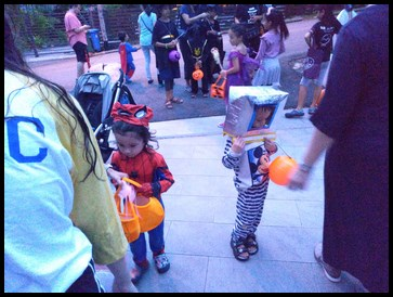 They got plenty of candy while walking around the neighbourhood.