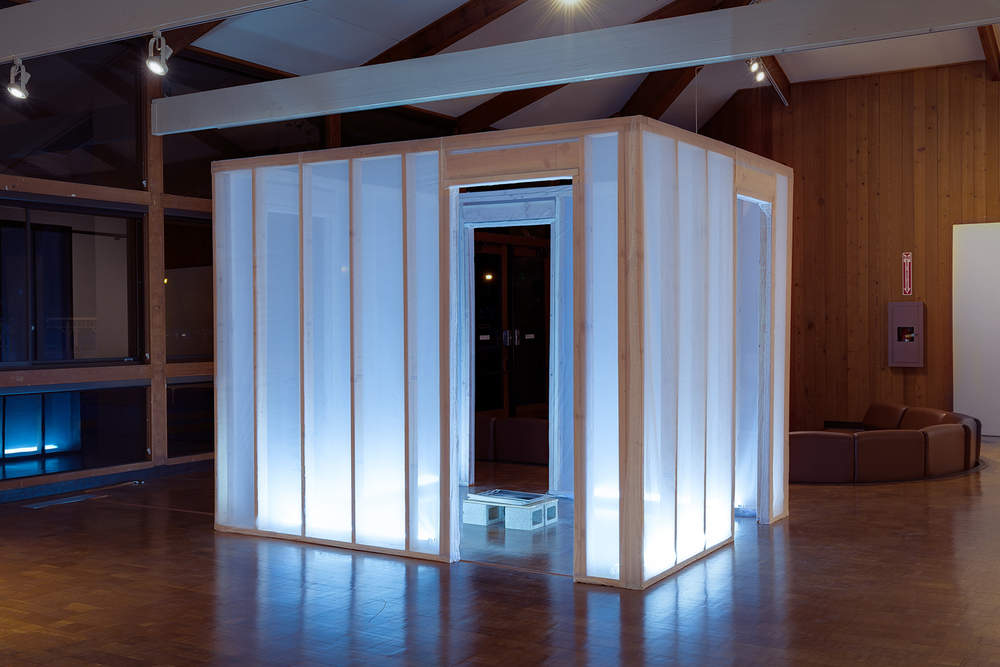The Event Unit , chiffon, wood & fluorescent lights, 2016.