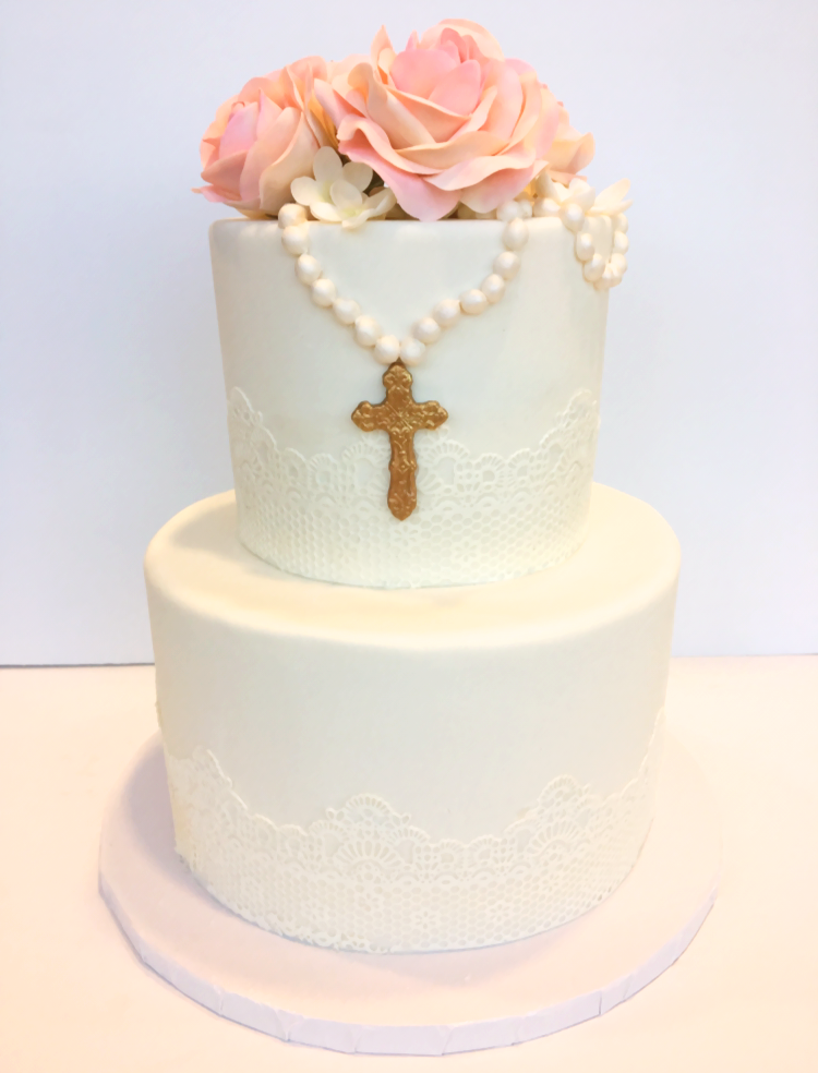 Rose and bead christening cake.png