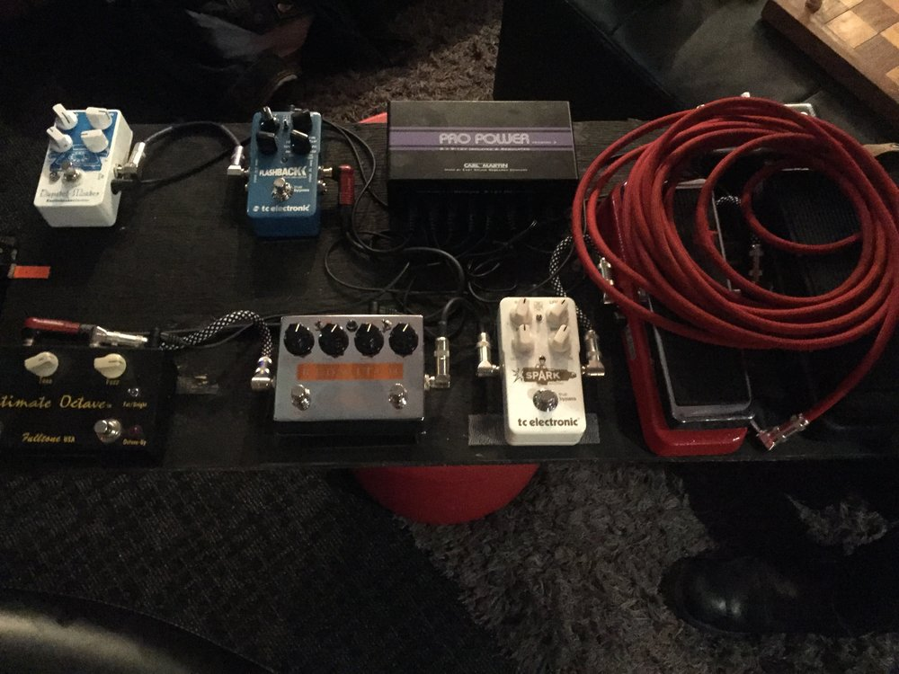 Dave's current pedal board featuring the Red Witch Zeus Suboctave Fuzz.