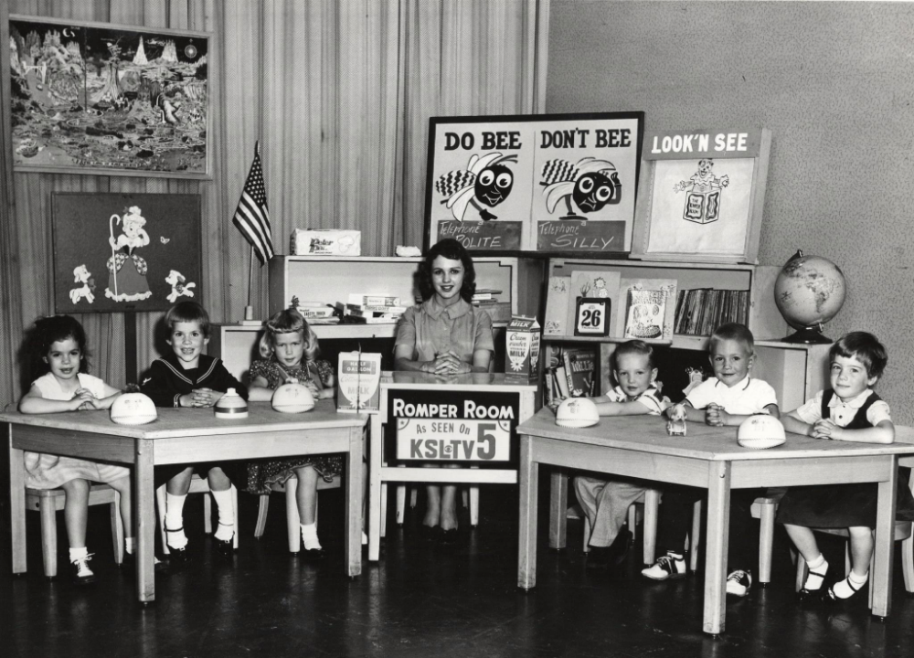 "Patrice (sitting on the far left) on ""Romper Room""."