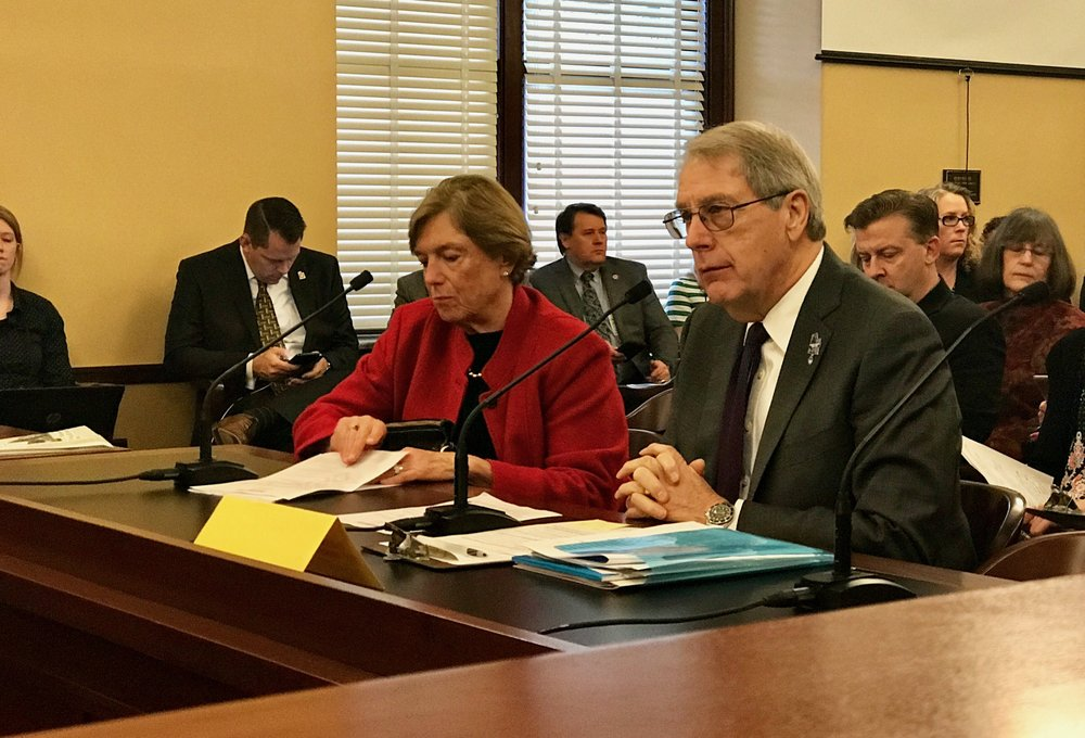 Former House Speaker Nolan Karras and Jesselie Anderson, Co-Chair of Education First, testify in Public Education Appropriations Committee