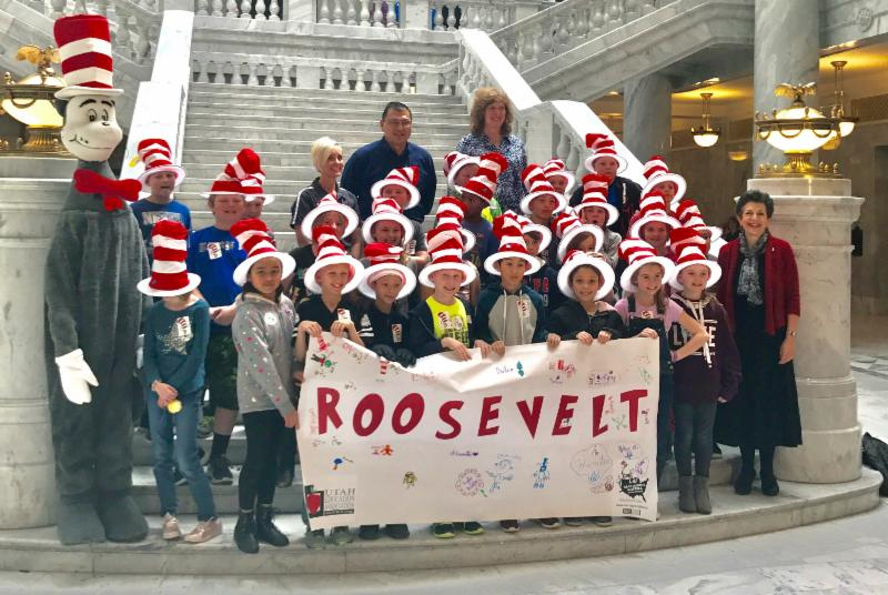 Students from Roosevelt Elementary came to visit for Read Across America Day.